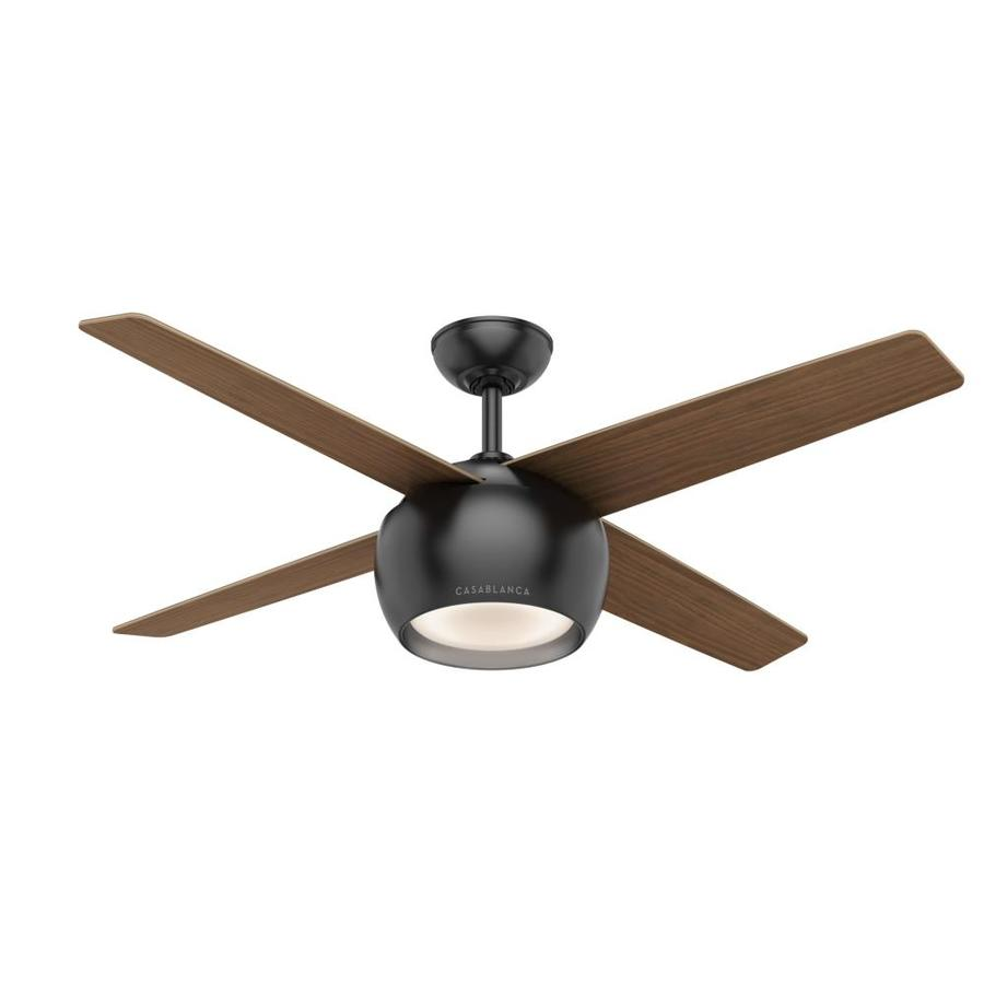 Casablanca 1-Pack Valby 54-in Matte Black Downrod or close mount Indoor Ceiling Fan with Light Kit (4-Blade)