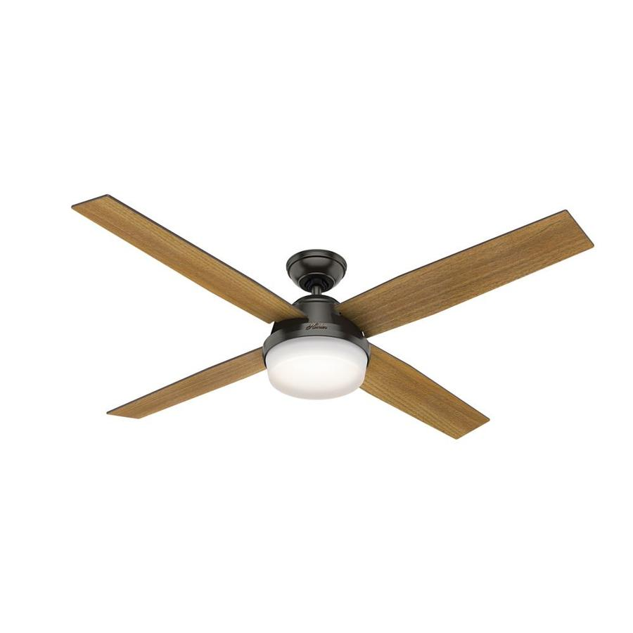 Hunter Dempsey 60-in Noble Bronze Indoor Downrod or Close Mount Ceiling Fan with Light Kit and Remote (4-Blade)