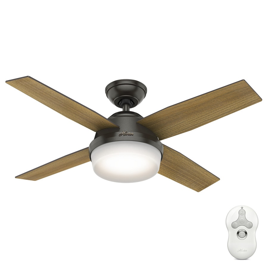 Hunter 1-Pack Dempsey 44-in Noble Bronze Downrod or close mount Indoor Ceiling Fan with Light Kit (4-Blade)