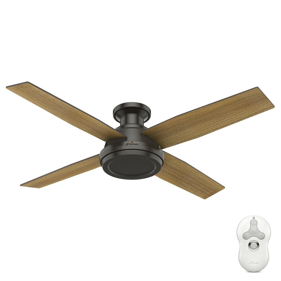 Hunter 1-Pack Dempsey 52-in Noble Bronze Flush mount Indoor Ceiling Fan (4-Blade)