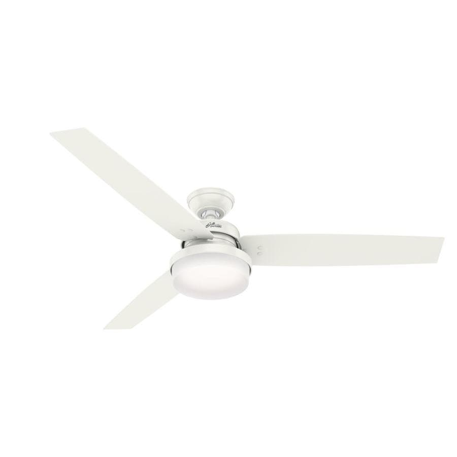 Hunter Sentinel 60-in Fresh White Indoor Downrod or Close Mount Ceiling Fan with Light Kit and Remote (3-Blade)