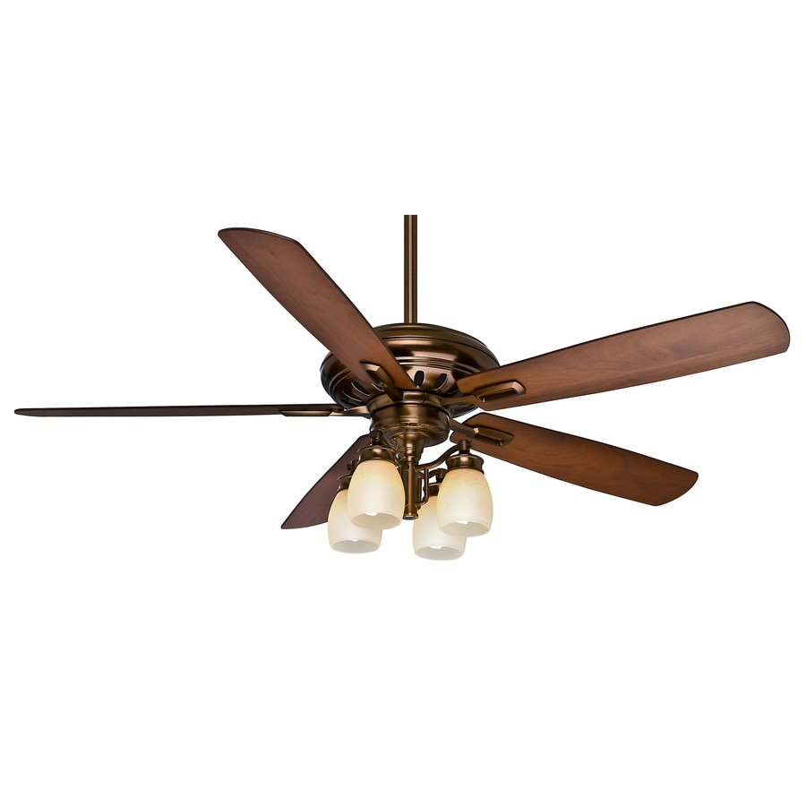 Casablanca Holliston Gallery 60-in Bronze Patina Indoor Downrod Or Close Mount Ceiling Fan with Light Kit and Remote