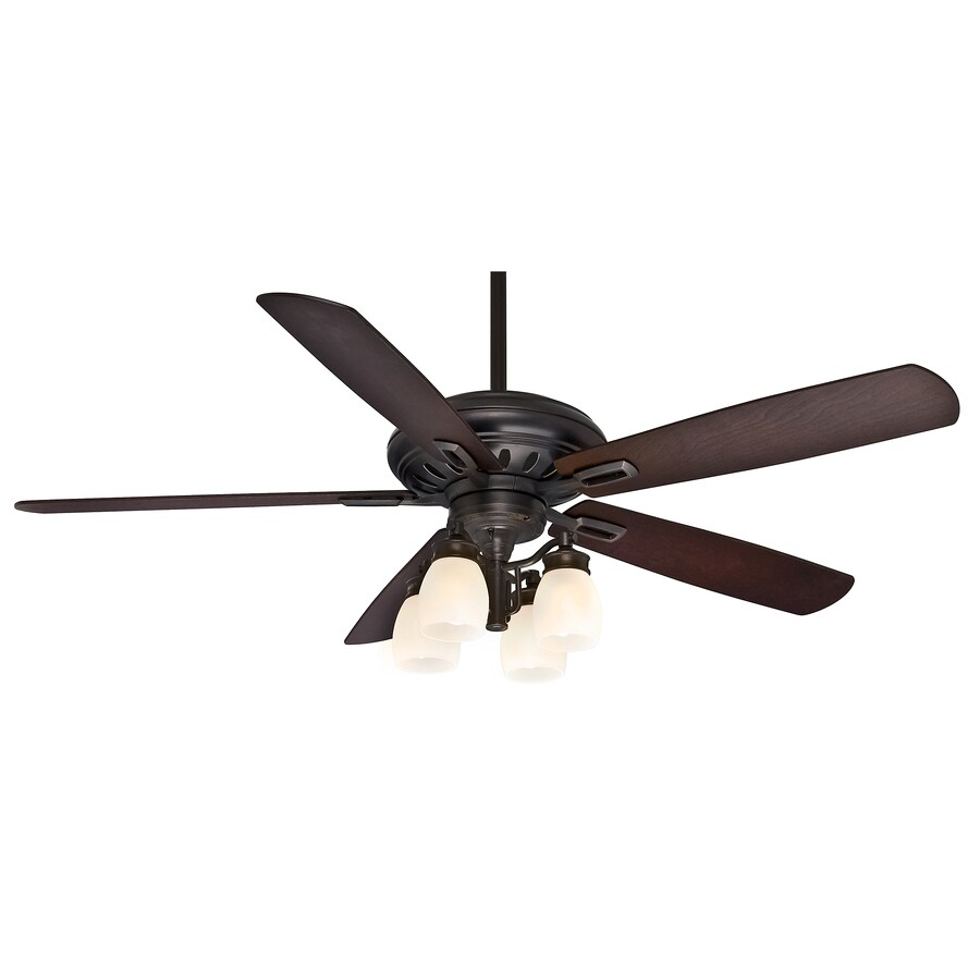 Casablanca Holliston Gallery 60-in Bullion Black Downrod or Close Mount Indoor Ceiling Fan with Light Kit and Remote