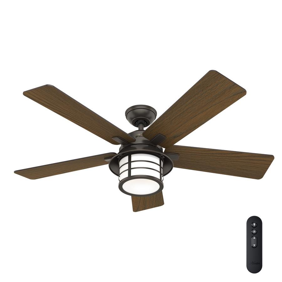 52 Onyx Bengal 4 Light Ceiling Fan With Light Kit: Shop Hunter 1-Pack Lantern Bay LED 54.0-in Onyx Bengal