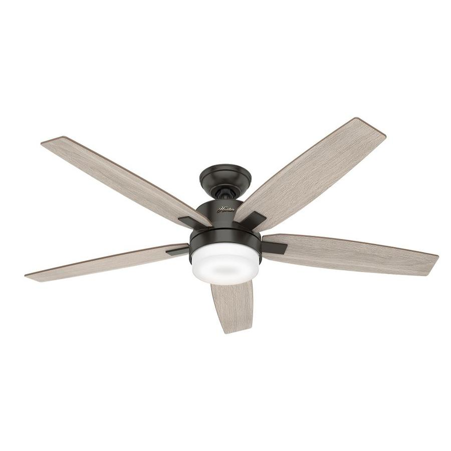 hunter windemere ii led 54 in noble bronze indoor ceiling fan with light kit and remote 5 blade. Black Bedroom Furniture Sets. Home Design Ideas