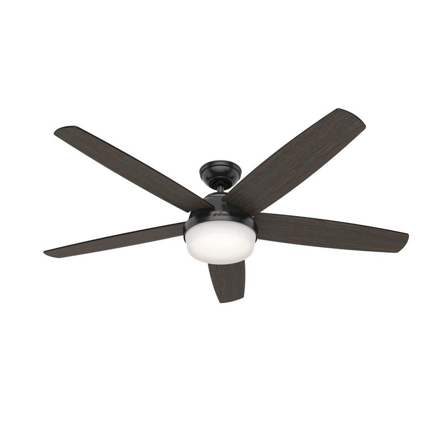 Hunter Great Room Led 60 In Matte Black Led Indoor Ceiling Fan With Light Kit And Remote 5 Blade In The Ceiling Fans Department At Lowes Com