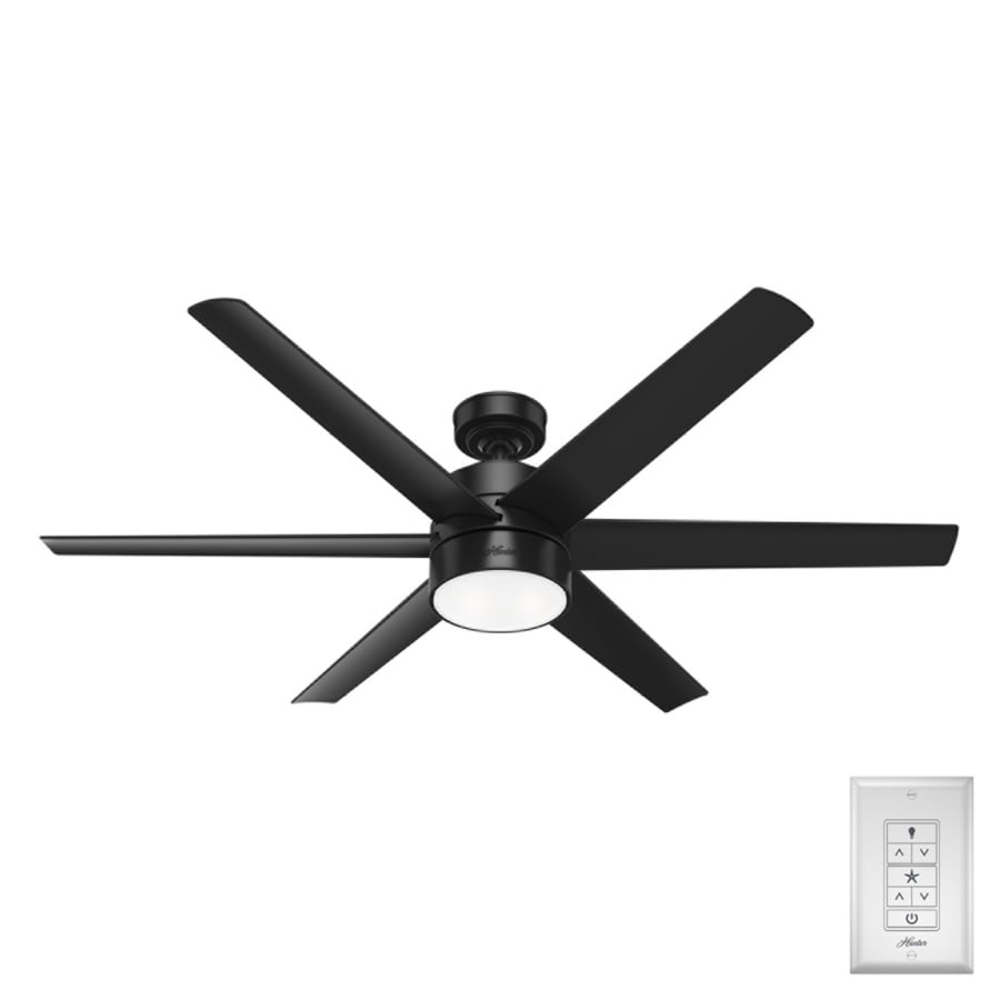 Hunter Solaria Matte Black 60 In Led Indoor Outdoor Ceiling Fan With Light Kit 6 Blade In The Ceiling Fans Department At Lowes Com