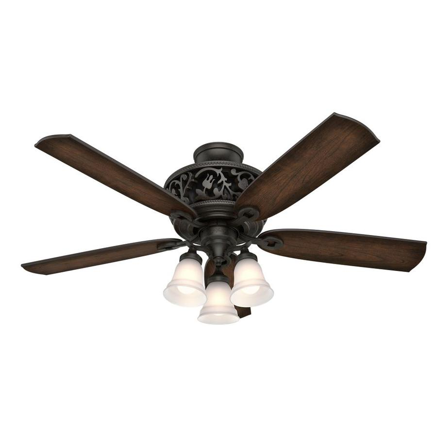 Hunter 216-in Black Anodized Aluminum Indoor Commercial Downrod Mount Ceiling Fan and Remote (4-Blade)