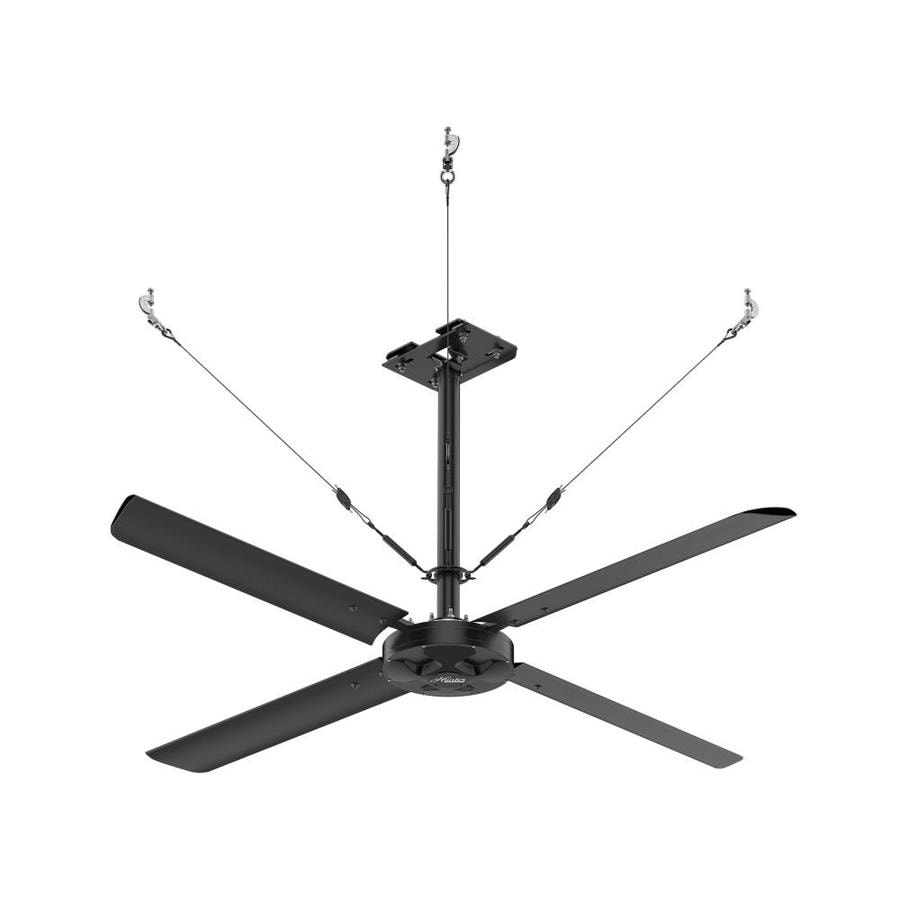 Shop hunter 96 in black anodized aluminum indoor commercial hunter 96 in black anodized aluminum indoor commercial downrod mount ceiling fan and remote aloadofball Images