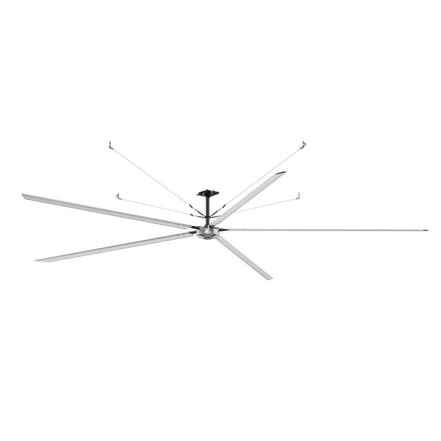 Hunter 288-in Anodized Aluminum Indoor/Outdoor Commercial Downrod Mount Ceiling Fan and Remote
