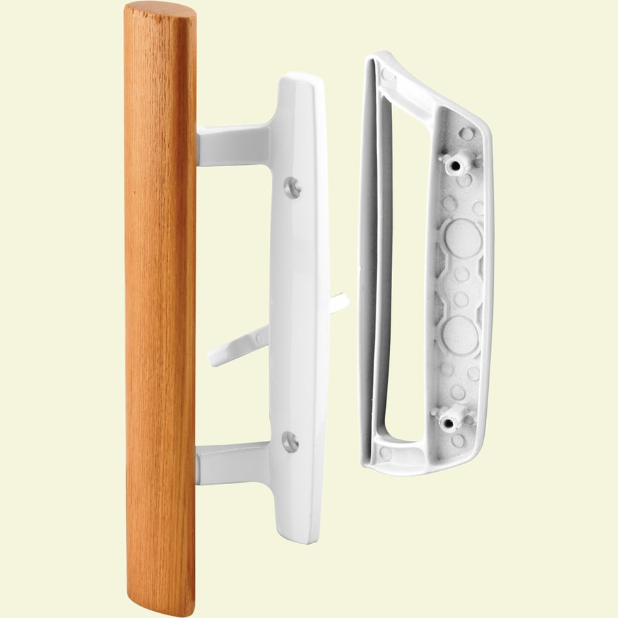 Shop prime line white patio door handle set with wooden for Sliding glass doors hardware