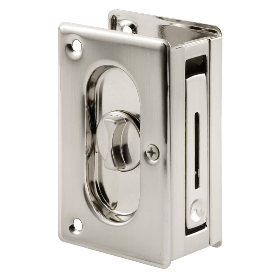 Pocket door bathroom lock - Prime Line 2 1 2 In Nickel Privacy Pocket Door Pull