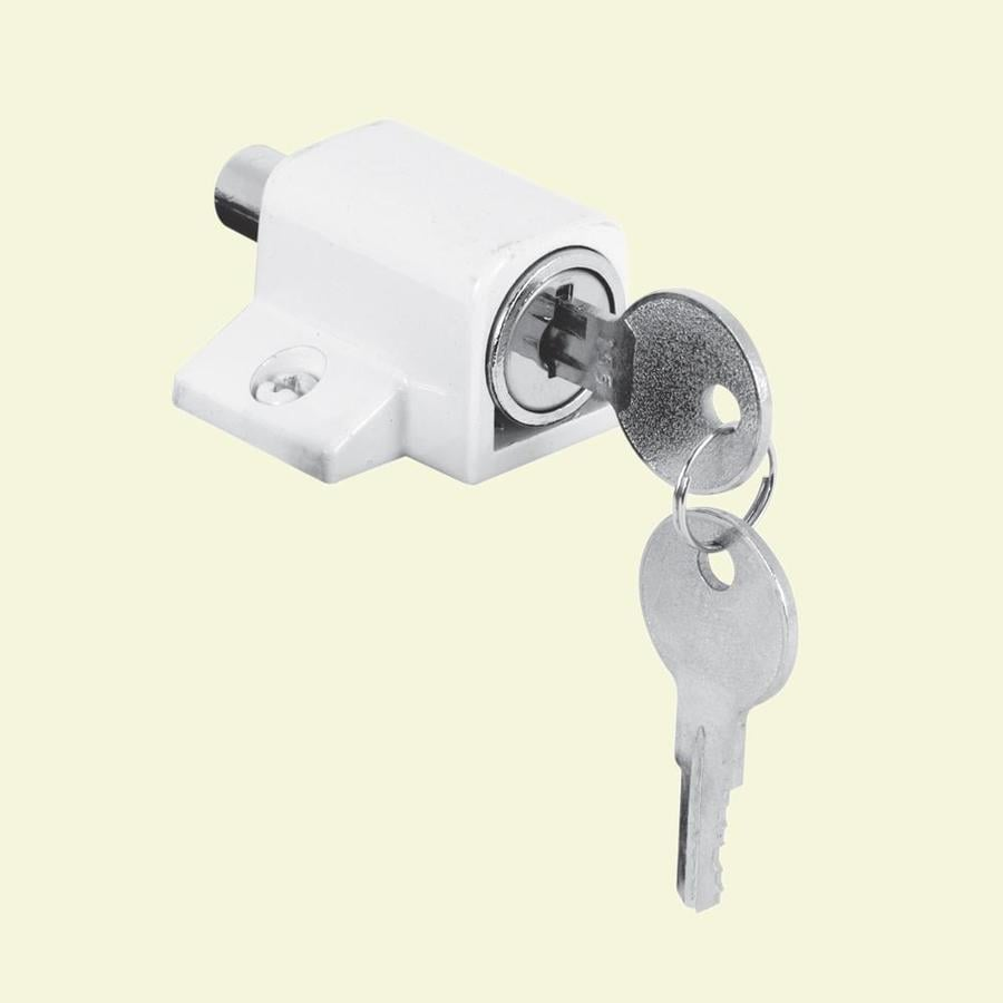 Gatehouse Push In Keyed White Sliding Patio Door Cylinder Lock