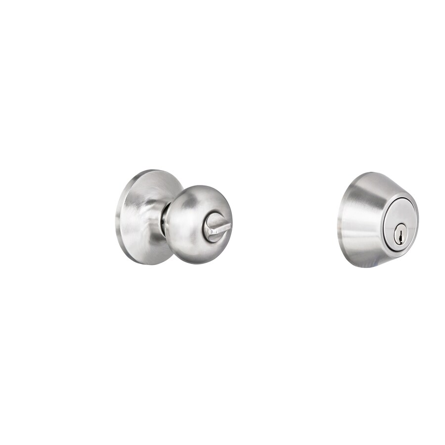 Gatehouse Baron Satin Nickel Mushroom Keyed Entry Door Knob