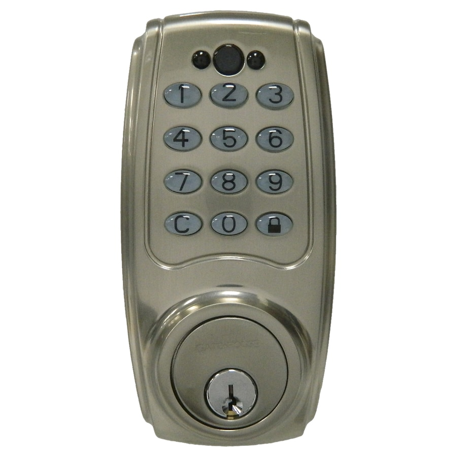 shop gatehouse satin nickel single cylinder motorized electronic entry door deadbolt with keypad. Black Bedroom Furniture Sets. Home Design Ideas