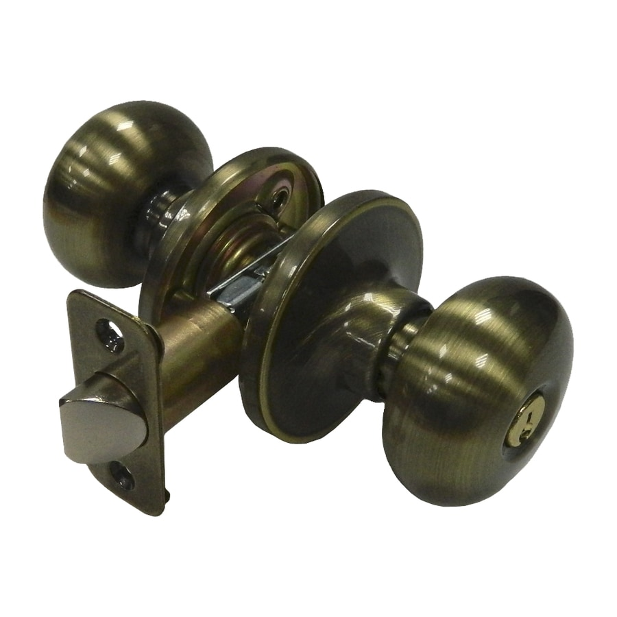 Gatehouse Baron Antique Brass Mushroom Keyed Entry Door Knob