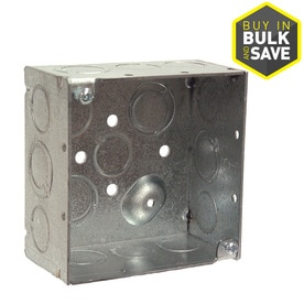 RACO 2-Gang Gray Metal Interior New Work Standard Square Ceiling/Wall Electrical Box