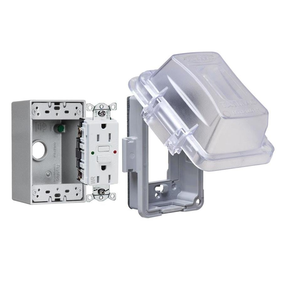shop electrical boxes & covers at lowes com electrical fuses small to largest taymac 1 gang rectangle plastic weatherproof electrical box cover