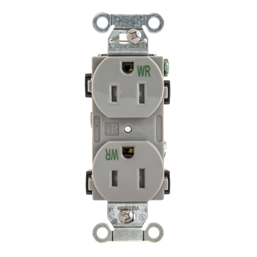 Hubbell 15-Amp 125-Volt Gray Indoor/Outdoor Duplex Wall Tamper Resistant Outlet