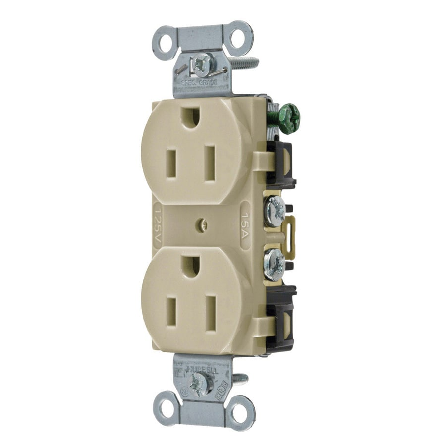 Hubbell 15-Amp 125-Volt Ivory Indoor Duplex Wall Outlet