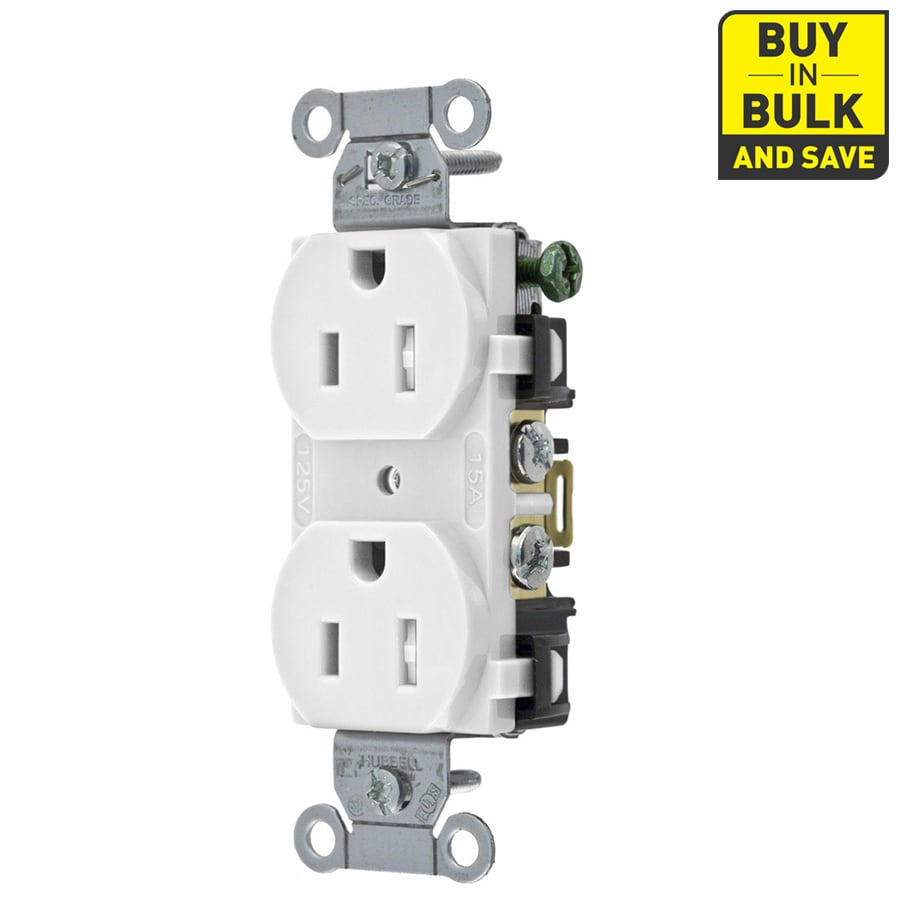 Hubbell 10-Pack 15-Amp 125-Volt White Indoor Duplex Wall Tamper Resistant Outlet