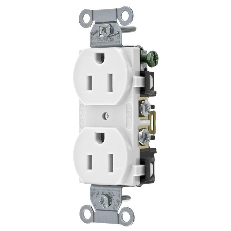 Hubbell 15 125-Volt White Indoor Duplex Wall Outlet