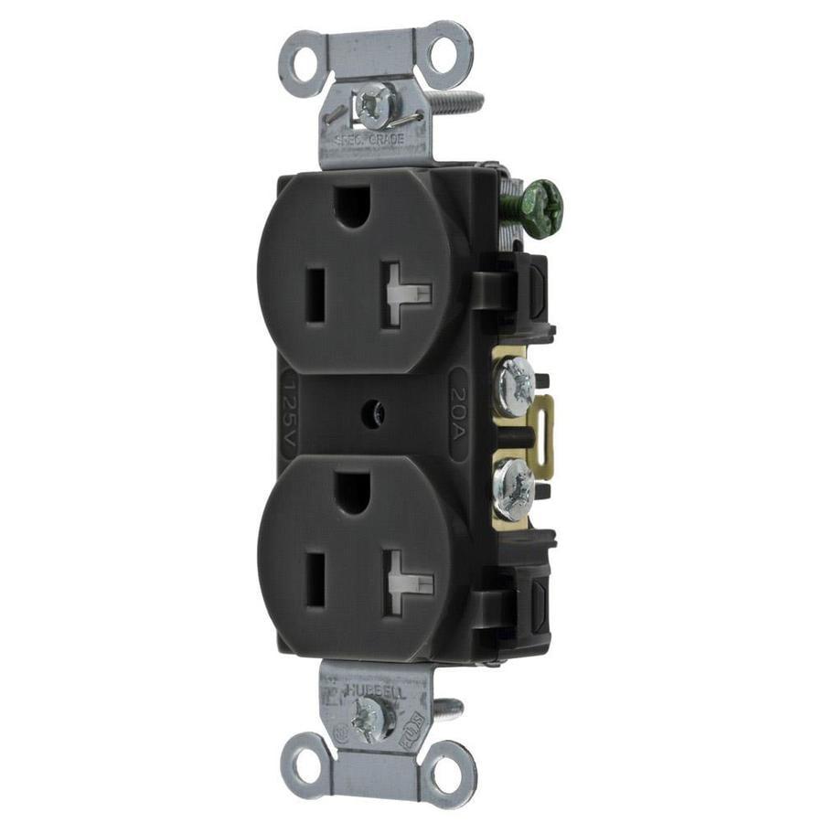 Shop Hubbell 20-Amp 125-Volt Black Duplex Wall Tamper Resistant ...