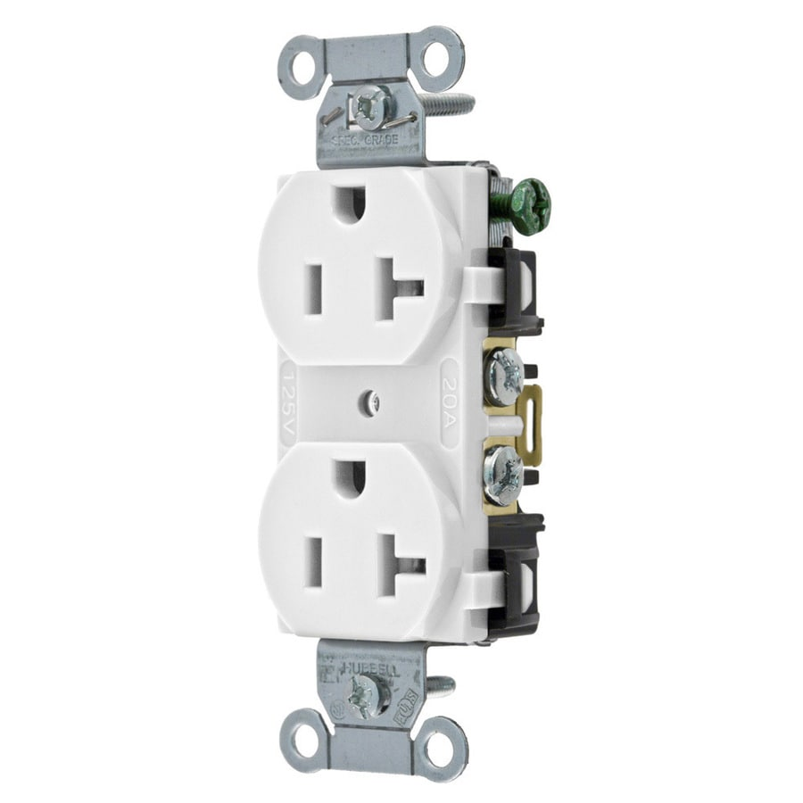 Hubbell 10-Pack 20-Amp 125-Volt White Indoor Duplex Wall Outlet