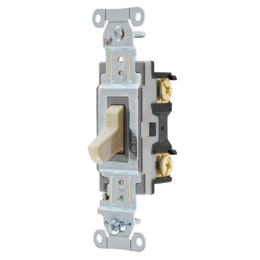 Hubbell 15/20-Amp 4-Way Ivory Indoor Toggle Light Switch