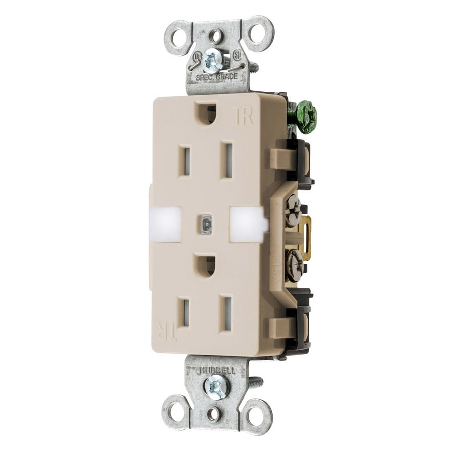 Hubbell 15-Amp 125-volt Light almond Indoor Duplex Wall Outlet