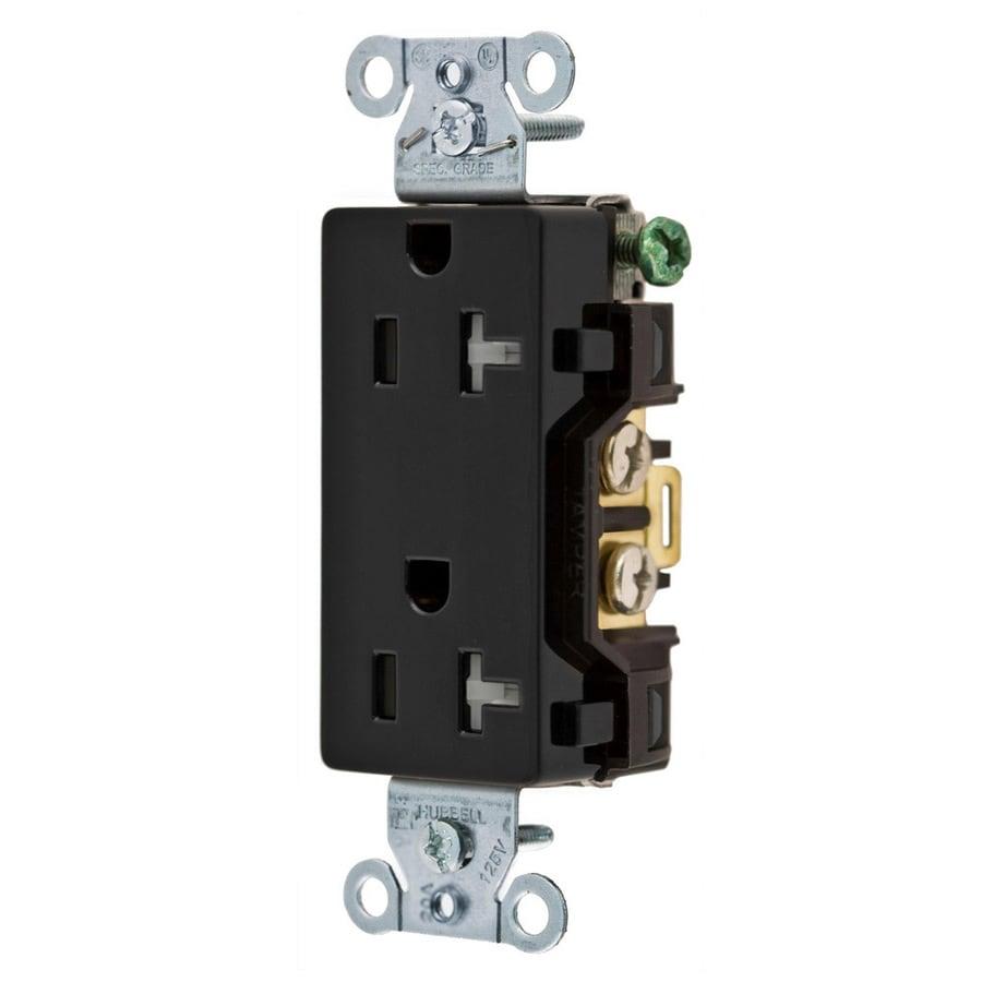 Hubbell 20-Amp 125-volt Black Indoor Duplex Wall Tamper Resistant Outlet