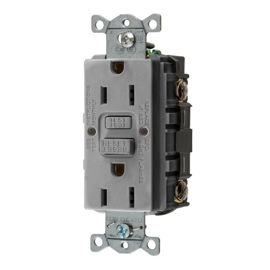 Hubbell 15-Amp 125-volt Gray Indoor Gfci Decorator Wall Outlet
