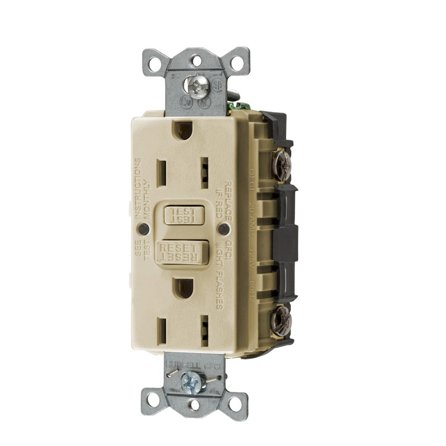 Hubbell 3-Pack 15-Amp 125-Volt Ivory Indoor GFCI Decorator Wall Outlet