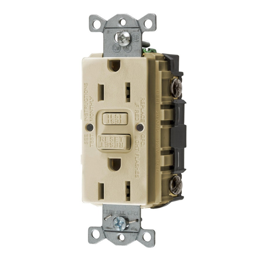 Hubbell 15-Amp 125-Volt Ivory Indoor GFCI Decorator Wall Outlet