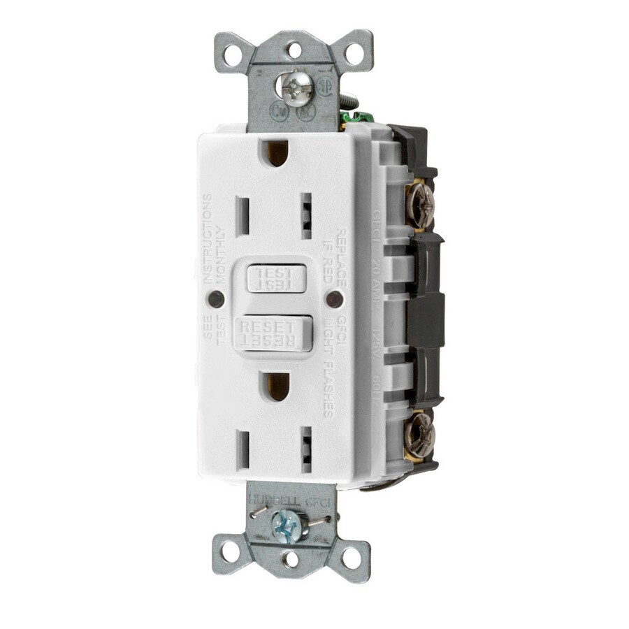 Shop Electrical Outlets At Home Wiring Gfci Hubbell White 15 Amp Decorator Outlet Protection Residential Commercial 3 Pack