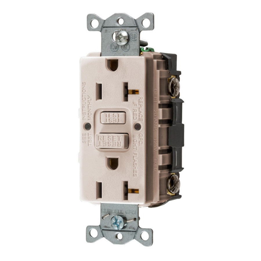 Hubbell 20-Amp 125-volt Light almond Indoor Gfci Decorator Wall Outlet