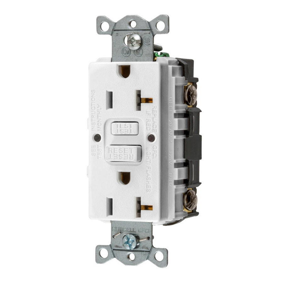 Hubbell 3-Pack 20-Amp 125-Volt White Indoor GFCI Decorator Wall Outlet