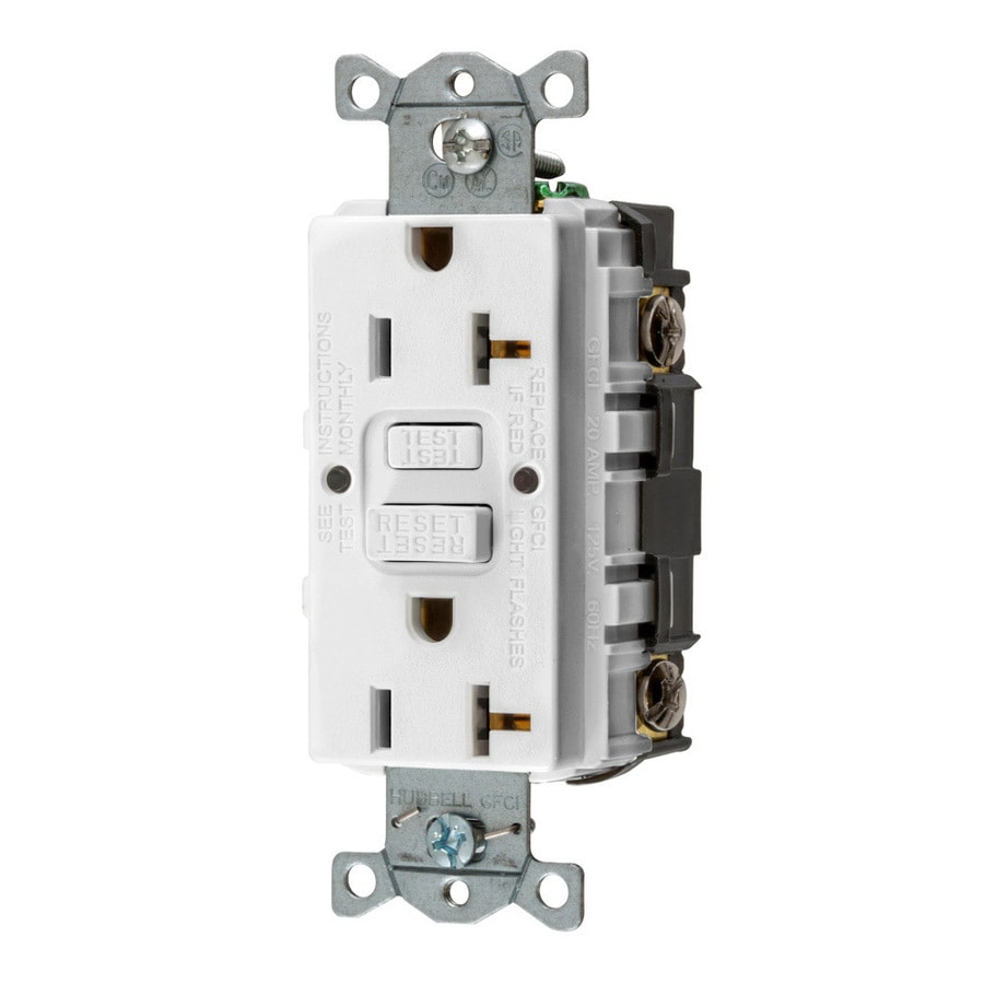 Shop hubbell 20 amp 125 volt white indoor gfci decorator wall hubbell 20 amp 125 volt white indoor gfci decorator wall outlet sciox Image collections