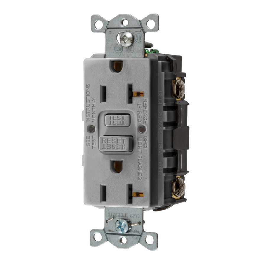 Hubbell 20-Amp 125-Volt Gray Indoor GFCI Decorator Wall Outlet