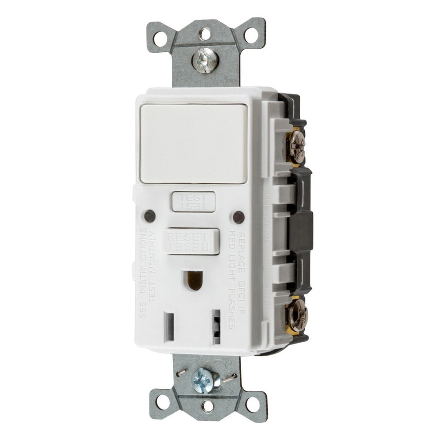Hubbell 15-Amp 125-Volt White Indoor GFCI Decorator Wall Outlet