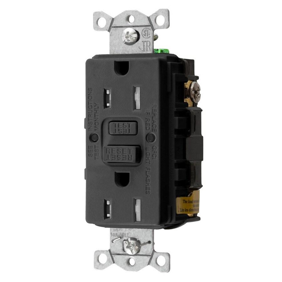 Hubbell 15-Amp 125-Volt Black Indoor GFCI Decorator Wall Tamper Resistant Outlet
