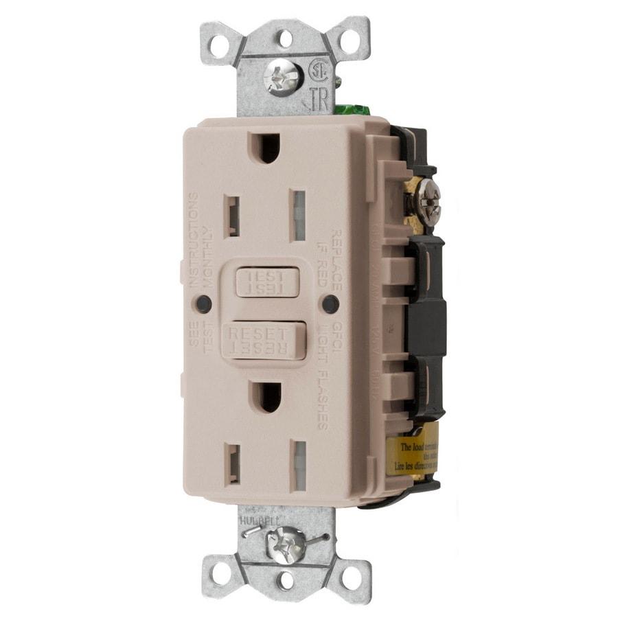 Hubbell 15-Amp 125-Volt Light Almond Indoor GFCI Decorator Wall Tamper Resistant Outlet