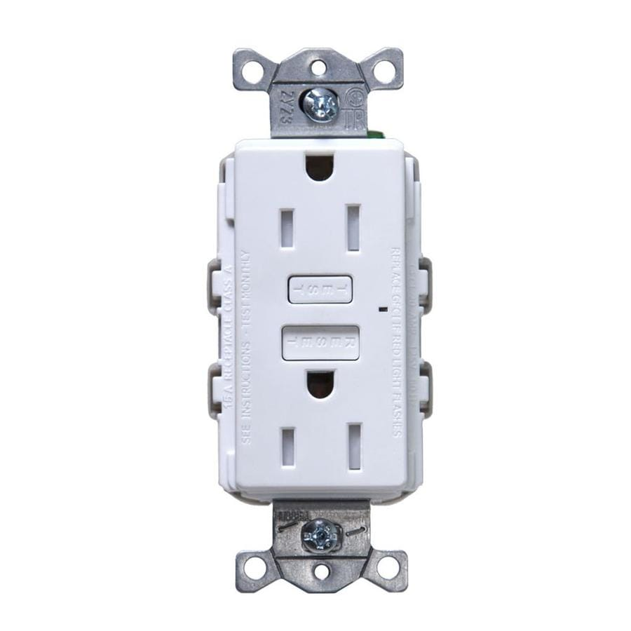 Hubbell 15-Amp 125-Volt White Indoor GFCI Decorator Wall Tamper Resistant Outlet