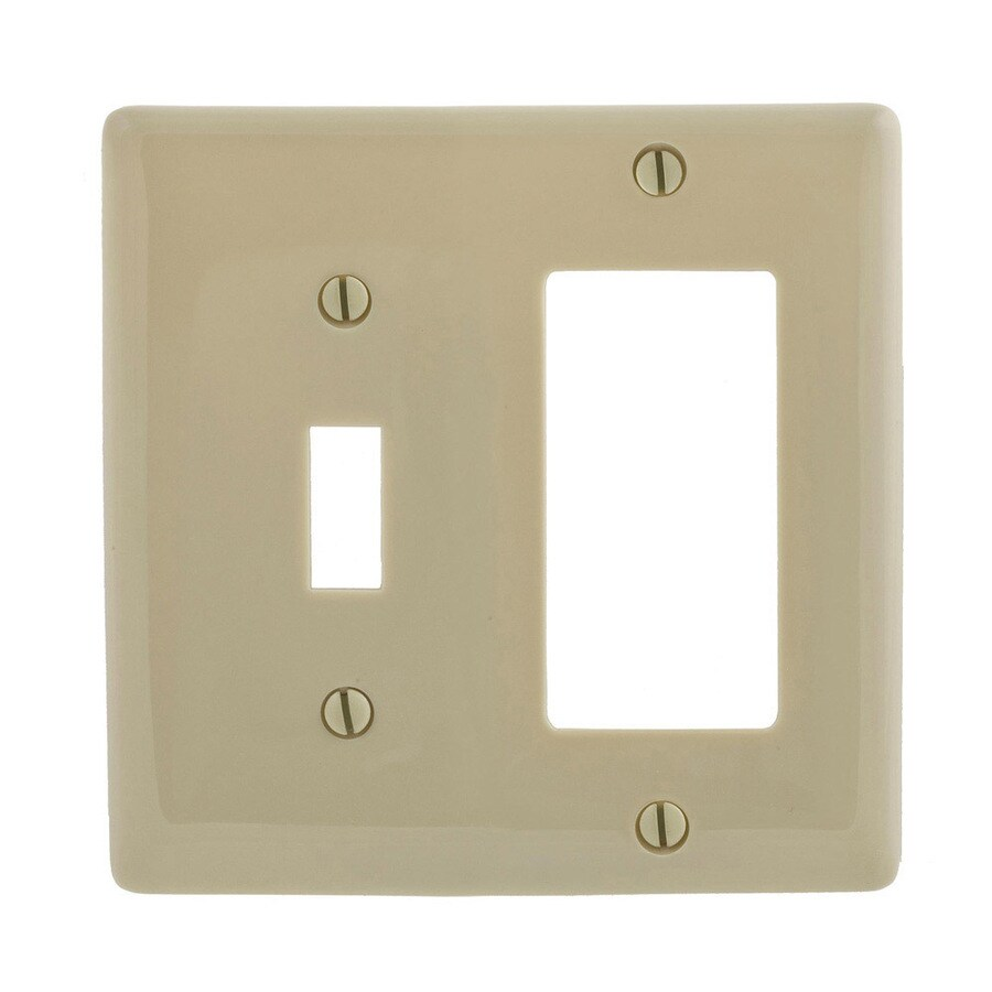 Hubbell 2-Gang Ivory Single Toggle/Decorator Wall Plate