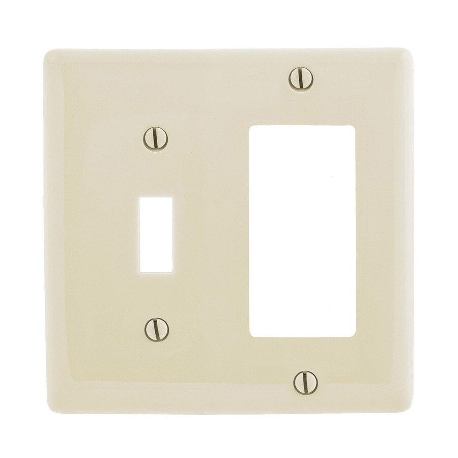 Hubbell 2-Gang Light Almond Single Toggle/Decorator Wall Plate