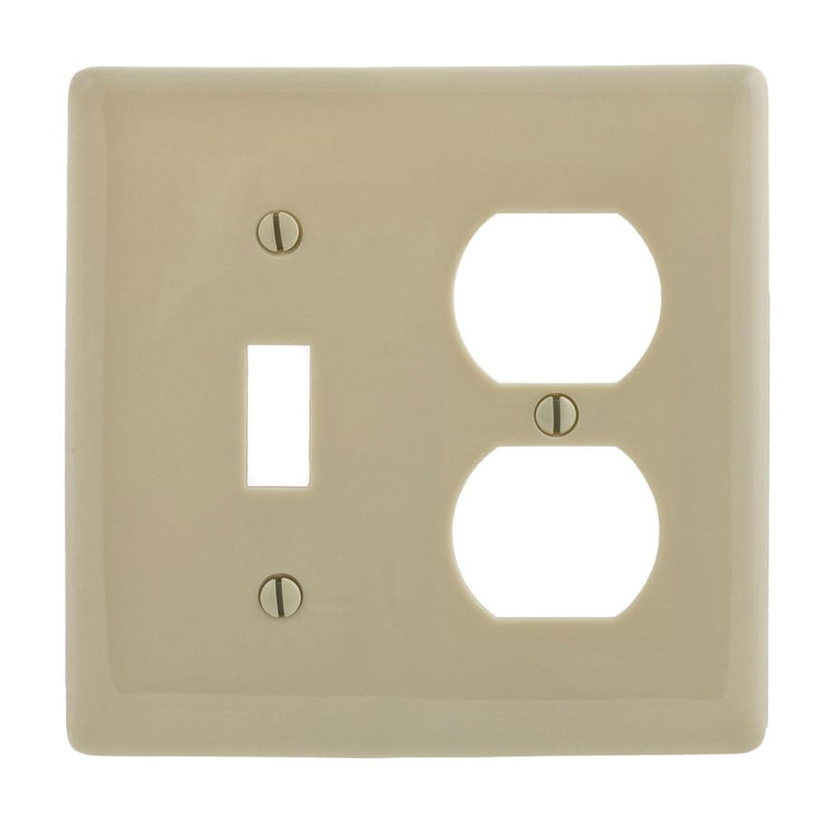 Hubbell 2-Gang Ivory Single Toggle/Duplex Wall Plate