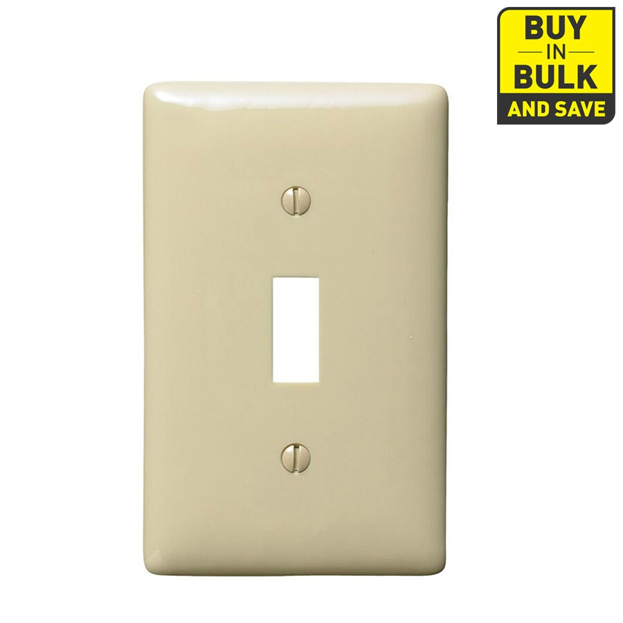 Hubbell 10-Pack 1-Gang Ivory Single Toggle Wall Plates