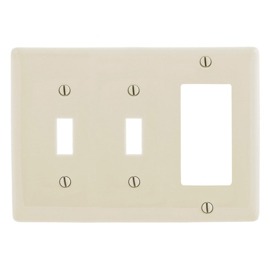 Hubbell 3-Gang Light Almond Double Toggle/Decorator Wall Plate