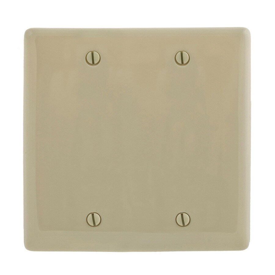 Hubbell 2-Gang Ivory Double Blank Wall Plate
