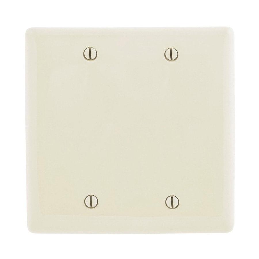 Hubbell 2-Gang Light Almond Double Blank Wall Plate